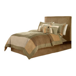Pem America - Chesterfield King Comforter Set with 4 Bonus Pieces - Muted colors, brushed fabrics and pleated details are the key to this peaceful bedroom coordinate.  The micro suede material creates a soft and warm escape every night. Includes 1 king comforter 100x90 inches with two king shams (20x36 inches), bed skirt to fit mattress 76x86 inches. 4 bonus pillows. Pieced face cloth and fill are 100% polyester. Dry clean only.