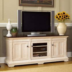 """Hammary - Promenade Entertainment Console in Fruitwood/Antique Linen Finish - """"The Promenade Series from Hammary offers a collection crafted of Pine Solids and Birch Veneers and feature a Fruitwood/Antique Linen finish. Promenade is inspired by European designs taken from utilitarian furniture. Influences of French, Scandinavian and English can be seen in each beautiful piece."""