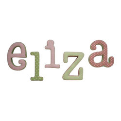 New Arrivals Inc. - Pink & Green Fabric Wall Letters - The pink & green fabric wall letters are a great way to spell out your child's name. The letters vary in pattern from blue, green, polka dot, gingham, and stripes. All letters are available in lower case only.