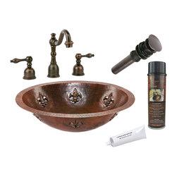 Premier Copper Products - Oval Fleur De Lis Under Counter Sink w/Faucet - PACKAGE INCLUDES: