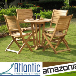 None - Capri Teak Wood Patio Dining Set - Scandinavian design of this furniture makes this set an ideal addition to your patioDining set boasts quality teak wood constructionGarden and patio furniture set includes a dining table with four side chairs