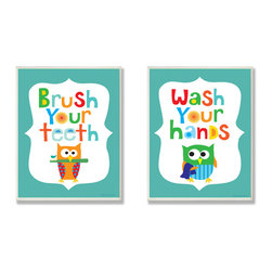 Stupell Industries - Brush Your Teeth & Wash Your Hands Boy's Duo - Treat your home to some style with one this decorative wooden wall plaques.    It is produced on sturdy half-inch thick MDF wood, and comes with a saw tooth hanger on the back for instant use.  The sides are hand finished and painted so a perfect crisp look.  MADE IN USA.