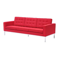 Fine Mod Imports - Button Sofa in Wool - Red - A modernist fan's dream, Ultra modern and made with 100% Wool Fabric.