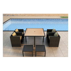 Arbor Cube 9-Piece Patio Dining Set, Beige Cushions