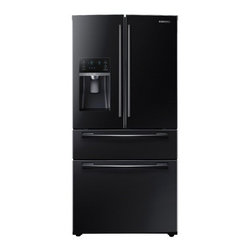 """Samsung - RF28HMEDBBC 36"""" French Door Refrigerator with 4 Doors  28 cu. ft. Ultra Large Ca - This large capacity 2815 cu ft Samsung 4 door French Door refrigerator stores up to 28 bags of groceries and helps keep your food fresher longer with Twin Cooling Plus technology Ice Master ice maker produces an incredible 10 lbs of ice per day Enjoy..."""
