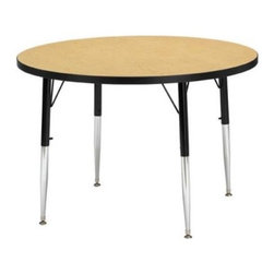 Jonti-Craft Ridgeline Round Activity Table - The Jonti-Craft Childrens Round Activity Table is ideal for painting, coloring, or art projects. Laminate table top available in your choice of attractive colors. Includes extra-safe dual-screw leg adjustability system and nylon-based swivel glides. Legs can adjust in height from 15- to 31-inches. Legs mount quickly for minimal assembly. Available in 36-, 42- or 48-inch diameters. The 36-inch diameter table can accommodate 4 chairs (not included). Adjust the table height to the 15- to 24-inch range to accommodate chairs with seat heights of 8- to 14-inches. This height is perfect for children ages 2 until 1st grade. Adjust the table height to 24- to 31-inches to accommodate chairs with seat heights of 14- to 18-inches - perfect for kids over 1st grade and adults. The 48-inch diameter table can accommodate 7 chairs (not included). Adjust the table height to the 15- to 24-inch range to accommodate chairs with seat heights of 8- to 14-inches. This height is perfect for children ages 2 until 1st grade. Adjust the table height to 24- to 31-inches to accommodate chairs with seat heights of 14- to 18-inches - perfect for kids over 1st grade and adults. Additional features Extra-safe dual-screw leg adjustability system Nylon-based swivel glides Legs mount quickly for minimal assembly About Jonti-CraftFamily-owned and -operated out of Wabasso, Minn., Jonti-Craft is a leading provider of quality furniture for the early learning market. It offers a wide selection of creatively designed products in both wood and laminate materials. Its products are packed with features that make them safe, functional, and affordable. Jonti-Craft products are built using the strongest construction techniques available to ensure that your furniture purchase will last a lifetime.