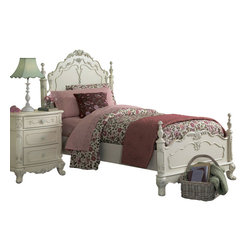 Homelegance - Homelegance Cinderella 6-Piece Kids' Poster Bedroom Set in White - The Cinderella collection is your little Child's dream. The Victorian styling incorporates floral motif hardware, ecru painted finish and traditional carving details that will create the feeling of a room worth of a fairy tale princess.
