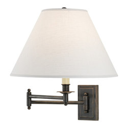 "Robert Abbey - Traditional Kinetic Collection Oyster Linen Plug-In Swing Arm Wall Lamp - Swing arm wall lamps are a great traditional option for reading or ambient light. They offer adjustability while conserving valuable floor and tabletop space. A deep patina bronze finish covers the brass fixture of this light for a distinctive look. This swing arm features a 3-way switch making the light output easy to control. Plug-in style wall lamp; plugs into any standard wall outlet. Can also be converted to a direct hard-wire lamp. From Robert Abbey. Deep patina bronze finish. Oyster linen shade. 3-way switch. Takes one 150 watt bulb (not included). 16"" high. Extends 23"" from the wall. Backplate is 5"" wide and 3"" high. Shade is 6"" across the top 14"" across the bottom and 9 1/2"" high.  Deep patina bronze finish.  Oyster linen shade.  3-way switch.  Design by Robert Abbey.  Takes one 150 watt bulb (not included).  16"" high.  Extends 23"" from the wall.  Backplate is 5"" wide and 3"" high.  Shade is 6"" across the top 14"" across the bottom and 9 1/2"" high."