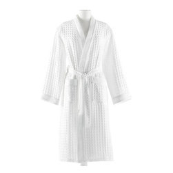 Waffle Bathrobe - Multiple elements of texture � waffle-weave pique cotton body, quadruple-stitched borders, additional delicate piping to join the two � combine into a stately Waffle Bathrobe that's interesting both to the eye and to the skin.  A practical, durable selection for making your bathing and lounging more comfortable, this sturdy cotton robe is excellent for the cultured traveler.