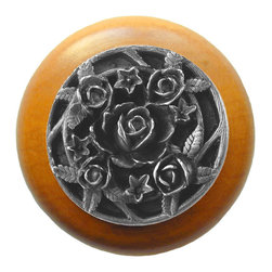 """Inviting Home - Saratoga Rose Maple Wood Knob (antique pewter) - Saratoga Rose Maple Wood Knob with hand-cast antique pewter insert; 1-1/2"""" diameter Product Specification: Made in the USA. Fine-art foundry hand-pours and hand finished hardware knobs and pulls using Old World methods. Lifetime guaranteed against flaws in craftsmanship. Exceptional clarity of details and depth of relief. All knobs and pulls are hand cast from solid fine pewter or solid bronze. The term antique refers to special methods of treating metal so there is contrast between relief and recessed areas. Knobs and Pulls are lacquered to protect the finish. Alternate finishes are available."""