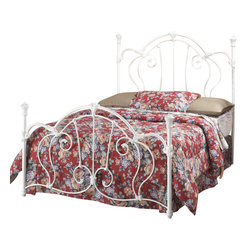 Hillsdale Furniture - Hillsdale Cherie King Metal Bed in Ivory - A sophisticated Victorian-style bed that marries interesting scrollwork with vivid castings