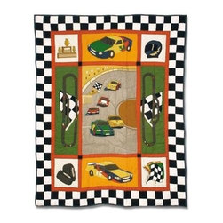 Patch Magic - Racecar Crib Quilt - 36 in. W x 46 in. L. Handmade, hand quilted. 100% CottonMachine washable, but for best care hand wash in cold water. Do not machine dry. Do not dry clean. Line or flat dry only.