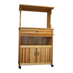 Catskill Craftsman - Catskill Craftsman Microwave Storage Cart - This rugged Catskill Craftsman microwave cart is constructed of durable and good-looking yellow birch with nickel-finished hardware. A butcher block top and plenty of storage space makes this movable cart the perfect addition to any kitchen.