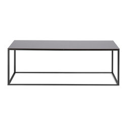 Blu Dot - Blu Dot Minimalista Coffee Table, Black / Black Mirror - Nothing but the bare essentials here. Sublime stainless steel gently supports your choice of top. Available in graphite-on-oak, marble or walnut.