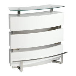 Chintaly Imports - Xenia Bar - White - Beautiful, contemporary bar with glass top, ash veneer finish inside and out, gorgeous chrome accents, including a footrest, and tempered glass.