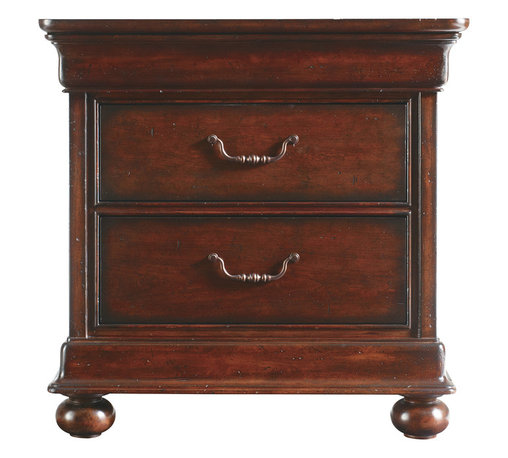 Stanley Furniture - Louis Philippe Bedroom Night Stand - Crafted to meet your every bedside need, the Night Stand is spacious without being oversized. A hidden drawer under the top molding offers a place for reading glasses or other small necessities, while two cedar drawers provide additional storage for larger items, such as reading materials. Elevating the Night Stand from the ordinary are the gently-rounded bun feet and antiqued bronze finish bail pulls. Made to order in America.
