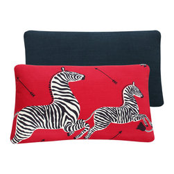 Chloe & Olive - Scalamandre Red Zebra Print 16x26 Right Facing Throw Pillow - This iconic, prancing print by Scalamandre will bring vivacity and glamour to a couch, bed or chair. With a stunning pair of zebras on each throw pillow, the exquisite combination of red, black and white will be a favorite for many seasons to enjoy. Scalamandre is a well known manufacturer of the finest quality fabrics for over 80 years.