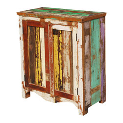 Sierra Living Concepts - Grandpa's Attic Reclaimed Wood Accent Storage Cabinet - A cabinet built with the history of the past is the perfect place to display and keep today's treasures. The Grandpa's Attic Accent Storage Cabinet can be used as a console. The hand crafted solid hardwood storage and display cupboard is built with reclaimed wood from Gujarat. The surface of the old wood is unaltered; it's been naturally seasoned over time and is authentically distressed.