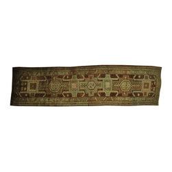 1800GetARug.com - 3'x13' Semi Antique Persian Heriz Soft Colors Hand Knotted Rug Sh16431 - 3'x13' Semi Antique Persian Heriz Soft Colors Hand Knotted Rug Sh16431