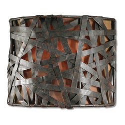 Uttermost - Alita 1-Light Black Wall Sconce - Oh what a tangled web we weave! There's nothing deceiving about this handsome wall sconce. Strips of aged black metal with rusty accents wrap around a linen shade, making this sconce a standout addition to your decorative lighting in the hallway, dining room or bathroom.