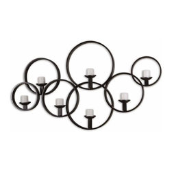 """Uttermost - Uttermost 7617 Kadoka Wall Art - Uttermost 7617 Carolyn Kinder Kadoka Wall ArtThis decorative wall candle-holder is made of hand forged metal with a rustic black finish. Included are seven 3"""" distressed ivory candles.Features:"""