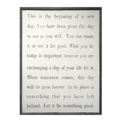 Kathy Kuo Home - This Is The Beginning' Simplicity Vintage Reclaimed Wood Wall Art - Large - How will you use each new day? This mantra for your wall will remind you to enjoy and make the most of life. It's printed and hand-framed with salvaged wood for a rustic, vintage feel. This would be great hanging in an entry as a chance to reflect before rush hour.
