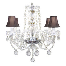 The Gallery - Venetian Style Crystal Chandelier with Black Shades - To live your fantasy, start at the ceiling. Nothing nears the splendor of this crystal chandelier with black shades, dazzling ball drops and scalloped bobeches. It's a masterpiece of illumination for your favorite formal setting.