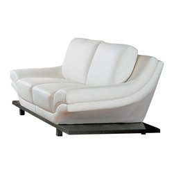 Global Furniture - Contemporary Wood Base Loveseat in Off-White - Fall back into comfort. This contemporary loveseat is a step above the competition, thanks to a wealth of pampered appointments and rich off-white leather upholstery. The seat and back cushions offer superior support, while the slender wood base adds refined architecture. Contemporary style. Made from off-white leather. Constructed with MDF. 73 in. L x 27 in. W x 40 in. H (132 lbs.)