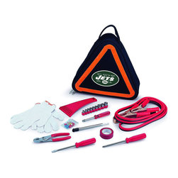 "Picnic Time - New York Jets Roadside Emergency Kit in Black - The Roadside Emergency Kit by Picnic Time will give you peace of mind knowing that you're prepared when an unexpected auto emergency arises. The kit features a triangular-shaped tote with carry handle that doubles as a reflective hazard warning sign and contains essential tools for roadside emergency repair, including: 1 set of jumper cables (8.2-ft long, 15-gauge copper with laminated instructions tag affixed to the cables), 1 heavy-duty plastic ice scraper, 1 tire-pressure gauge, 1 9-piece ratchet set (socket sizes ranging from 3/16"" to 1/2"") with rigid hand driver, 1 pair of standard slip-joint pliers, 1 flathead screwdriver (7-1/4""), 1 Phillips screwdriver (7-1/4""), 1 roll of red electrical tape, blade-style automotive fuses: (1) 10 amp, (2) 15 amp, and (1) 20 amp, 1 pair of white work gloves (woven heavy-duty cotton blend), and insulated ring and spade terminals (3 of each). Makes a great gift for any car owner.; Decoration: Digital Print; Includes: 1 set of jumper cables (8.2-ft long, 15-gauge copper with laminated instructions tag affixed to the cables), 1 heavy-duty plastic ice scraper, 1 tire-pressure gauge, 1 9-piece ratchet set (socket sizes ranging from 3/16"" to 1/2"") with rigid hand driver, 1 pair of standard slip-joint pliers, 1 flathead screwdriver (7-1/4""), 1 Phillips screwdriver (7-1/4""), 1 roll of red electrical tape, blade-style automotive fuses: (1) 10 amp, (2) 15 amp, and (1) 20 amp, 1 pair of white work gloves (woven heavy-duty cotton blend), and insulated ring and spade terminals (3 of each)"