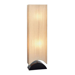 Aspire - Anneliese Modern Floor Lamp - This modern floor lamp makes a great addition to any contemporary space. Featuring a tall beige fabric shade that conceals two light bulbs, sufficiently illuminating your space while at the same time adding sophisticated style. Black wood base. Wood. Color/Finish: Black, beige. UL listed. Uses 2 X 60 watt max bulb. 43 in. H x 12 in. W x 6 in. D. Weight: 6 lbs.