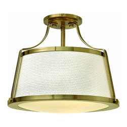 Hinkley Lighting - Hinkley Lighting 3521BC Foyer Charlotte - Charlotte is an updated traditional design featuring a richly textured off-white fabric shade captured by wide solid metal uprights and trim rings. The domed bottom diffuser is captured inside a heavy trim ring and held by cast decorative knobs for a refined vintage touch.