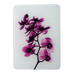 Radiant Art Studios - Glass Cutting Board with X-ray Photograph of Magenta Orchid, 12x15 - Whimsical x-ray photography on tempered glass 12 x 15 cutting board may also be used as serving platter or trivet.  Rubber feet protect surfaces. Made in U.S.A.   Dishwasher safe.