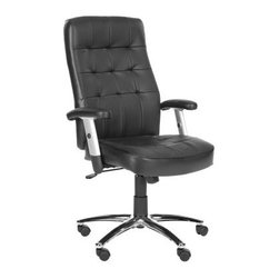 Safavieh Olga Desk Chair - Black - Comfy bodies lead to comfy minds, and comfy minds lead to focus, productivity, and (finally) getting all that office work done - why thank you, Safavieh Olga Desk Chair - Black. Destined to be your new favorite co-worker, this desk chair is cozy as can be thanks to the combination leather/PVC black upholstery. A tufted pattern on the seat back adds a luxe look, and your elbows will love the extra padding on the armrests. Plus, the high-shine metal frame features rubber wheels, and the seat height is adjustable, so it's easy to get that perfect perch.About SafaviehSafavieh is a leading manufacturer and importer of fine rugs. Established in 1914 in the capital of Persian weaving masters, the company today brings three generations of knowledge and experience to its award-winning collections. In the United States since 1978, Safavieh has been a pioneer in the creation of high-quality hand-made rugs, a trend that revolutionized the rug business in America. Its collections range from the finest antique and historical reproductions to the most fashion-forward contemporary and designer rugs.