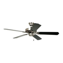 """The Ellington Collection K11041 52 in. Indoor Ceiling Fan - Brushed Chrome - ENE - The shape may be """"""""then"""""""" but the style of The Ellington Collection 52 in. Indoor Ceiling Fan - Brushed Chrome - ENERGY STAR is very """"""""now"""""""". The brushed chrome finish of the metal body and blade arms is nicely offset by the glossy black and rosewood finish of the MDF blades. Three fan speeds let you choose the level of breeze that works for you and a simple pull-chain operation gives you the ability to make those adjustments with ease. This fan is Energy Star rated so you can be sure that you're doing the most to improve the look and feel of your home while keeping an eye on the bills too. What is an ENERGY STAR product?This product has earned the ENERGY STAR rating from the U.S. Environmental Protection Agency and the U.S. Department of Energy. ENERGY STAR is a voluntary labeling program designed to identify and promote energy-efficient products. These products meet strict guidelines and can help you save up to a third on energy bills compared to like products without an ENERGY STAR rating. ENERGY STAR products saved about $14 billion in 2006 alone and their numbers are growing exponentially in product categories. This ENERGY STAR product has met criteria that will save energy money and reduce greenhouse gas emissions. An excellent choice. Additional Features: Light-kit adaptable Weight: 13 pounds Motor: 153 x 13 mm. Blade pitch: 12 degrees UL listing: Dry About Ellington Fans:Ellington knows that your style is uniquely your own and has been importing and distributing lighting fixtures for over 25 years with the goal of making sure that you find the exact fixture that lights up your style. Based in Dallas Texas; Ellington Fans and its parent company Litex Industries are excited and inspired by the fixtures that they produce. They hope that you'll feel the same when you see what they can bring to your home."""