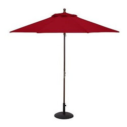 Round Market Umbrella with Eucalyptus Pole, 9', Solid, Cherry Red - Vibrant, sun-drenched colors make these umbrellas summer favorites. Choose from our three types of poles to help you complement outdoor furnishings. 6' diameter, 7.4' high 9' diameter, 8.25' high Choose eucalyptus, teak or aluminum pole. Wood pole is crafted from eucalyptus or premium teak, and features an easy-to-use pulley system, and three positions for the galvanized-metal locking pin that keeps the umbrella open. Sturdy aluminum pole in bronze finish has an easy-turn crank handle and tilt function. Designed to fit any Pottery Barn outdoor dining table that accommodates an umbrella. Please check umbrella pole diameter if using with other tables. Concrete stand (sold separately) can be used with any of our umbrellas for added stability. Simple assembly. Imported. Natural and Ink Blue are Catalog / Internet only. View our {{link path='pages/popups/fb-outdoor.html' class='popup' width='480' height='300'}}Furniture Brochure{{/link}}.
