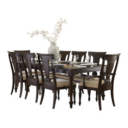 Homelegance - Homelegance Inglewood 9-Piece Rectangular Dining Room Set in Cherry - Sophistication merges with elegant lines and classic shapes in the Inglewood collection. The bold server features wood and silver accented drawer knobs and glass door fronts, all accenting the deep cherry finish of the group.