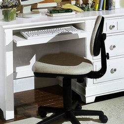 Vaughan Bassett - 3-Drawer Pull Out Computer Desk in Snow White - Desk chair NOT INCLUDED. 3 Drawers. 1 Pull out tray. Snow White finish. Assembly required. 52 in. W x 27 in. D x 30 in. H. Computer hutch: 51.5 in. L x 13 in. W x 48 in. H (optional). Computer chair: 21 in. L x 20 in. W x 35 in. H (optional)