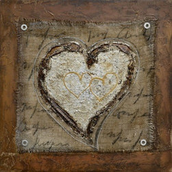YOSEMITE HOME DECOR - The Healing Heart III Art Painted on Canvas - Rich and bold earth tones add to the great use of texture and cross-hatching found in this beautiful piece.  Metallic accents of silver, copper, and gold add intricate little details to the focal point of the heart, helping it to stand out from what looks like brown fabric behind it.