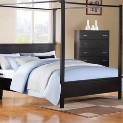 Acme Furniture - London Black Queen Canopy Bed - 20050Q - London Collection Queen Bed