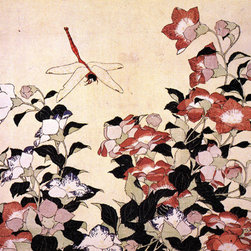 Keep Calm Collection - Chinese Bell Flower And Dragon Fly by Katsushika Hokusai, art print - Katsushika Hokusai (September 23, 1760 - May 10, 1849) was a Japanese artist, ukiyo-e painter and printmaker of the Edo period. He was influenced by such painters as Sesshu, and other styles of Chinese painting.