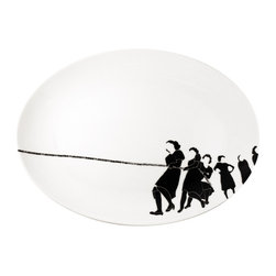 Ink Dish - Alyson Fox Tug Serving Platter - You could read a lot into the art on this porcelain serving tray. What are the women fighting for? Why are some ladies standing aside and watching? Is this a statement about societal roles, or is it simply a beautiful dish? Either way, it would look lovely filled with a delicious main course.