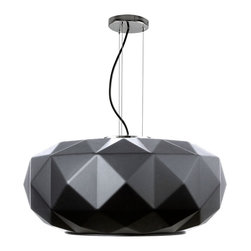 Glass Diamonds Pendant in Black - Large - Artfully constructed from glass with a matte black finish, this pendant lamp screams modern sophistication in any indoor setting. Its geometric, multidimensional form elegantly contrasts with the circular bottom opening that casts up to 60 watts of brilliance over your dining table, kitchen counter, or bedroom.