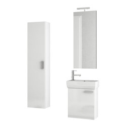 ACF - 18 Inch Glossy White Bathroom Vanity Set - This single person bathroom vanity is perfect for your contemporary guest bathroom.