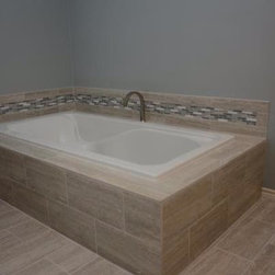 Tub Deck - Crema Claro - 2cm Crema Claro Travertine tub deck , with flat edge detail.