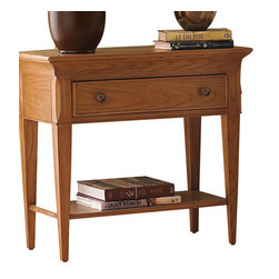 American Drew - American Drew Ashby Park Leg Nightstand - Sage - The Ashby Park collection is a casual, lifestyle collection with multiple options that will help you create the perfect bedroom. The design of the collection is simple, yet full of look. An eclectic mix of colors and materials gives this group the ability to fit into many settings; create a metro, casual, transitional, traditional or even coastal appearance by changing or mixing up the colors and textures. There are five finish options. The three wood tone finishes are Natural, Nutmeg and Peppercorn and the stained colors are Sage and Sea Salt. The semi-transparent finish is accomplished by applying the various colored stains onto the strong grain characteristics of Ash. This allows the wood undertones to naturally add depth and highlights to each piece. The wood tone finishes use a Dark Copper finished knob. The stained colors use a Nickel finished knob. The hardware adds to the simple styling of the pieces. With multiple bed and case piece options, finish and hardware options, Ashby Park is sure to fit the style and needs of many homes.