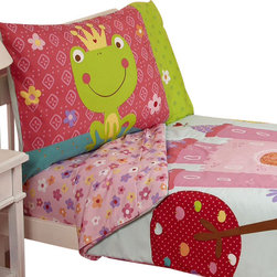 Crown Crafts Infant Products - Fairytale Toddler Bedding Set Frog Prince Bed - FEATURES: