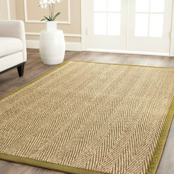 Safavieh - Hand-woven Sisal Natural/ Olive Seagrass Rug (5' x 8') - A classic natural color and cotton backing makes these hand-woven seagrass rugs a casual and long-lasting addition to your home decor. A fringeless border offers a clean look,while the 0.25-inch pile height offers comfort under your feet.