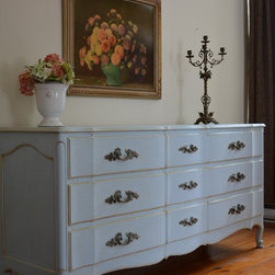 """Classic Antique French Nine Drawer Dresser - Gorgeous and classy vintage French dresser with original old paint, of highest quality, circa 1940s, dust covers, nine drawers, with beautiful Louis XV handles, paneled sides and scrolled feet. Dimensions: H34""""xL70""""xD21."""" Visit www.myparisapartment.ca   Monica Vida"""