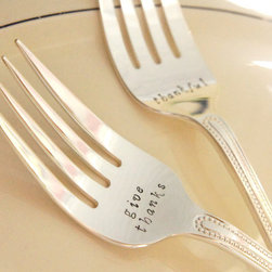 Personalized Fall Thanksgiving Flatware Serveware by River Valley Designs - This is a perfect gift for a host. It's nice to be reminded to give thanks, not just on Thanksgiving, but all year-round.