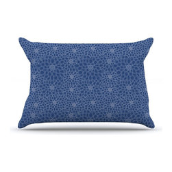 "Kess InHouse - Julia Grifol ""White Flowers on Blue"" Navy Blue Pillow Case, King (36"" x 20"") - This pillowcase, is just as bunny soft as the Kess InHouse duvet. It's made of microfiber velvety fleece. This machine washable fleece pillow case is the perfect accent to any duvet. Be your Bed's Curator."